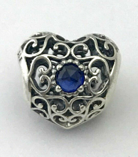 07720236e7033 PANDORA 791784ssa September Signature Heart Synthetic Sapphire Charm