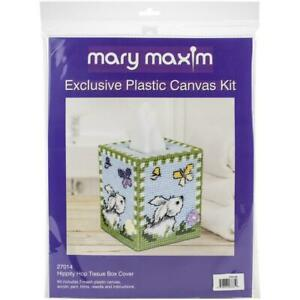 Mary-Maxim-Plastic-Canvas-Tissue-Box-Kit-5-034-Hippity-Hop-Bunny-Spring