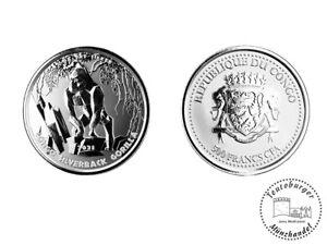 Kongo Congo 5000 Francs 2021 Silberrücken Gorilla 1 oz 999 Silber Münze * ST *