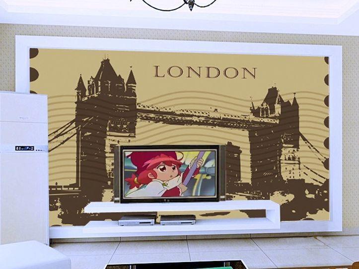 3D London Bridge Silhouette  Paper Wall Print Decal Wall Deco Indoor wall Murals