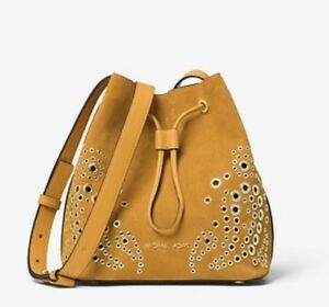 bcf2df59d7 Image is loading Michael-Kors-Cary-Small-Grommeted-Marigold-Suede-Bucket-