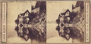 Lago Di Como Villa Italia Foto Leon Bloch Stereo Vintage Albumina Ca 1860