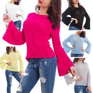 Maglia-donna-leggera-tricot-maniche-campana-primavera-casual-nuovo-GI-6206