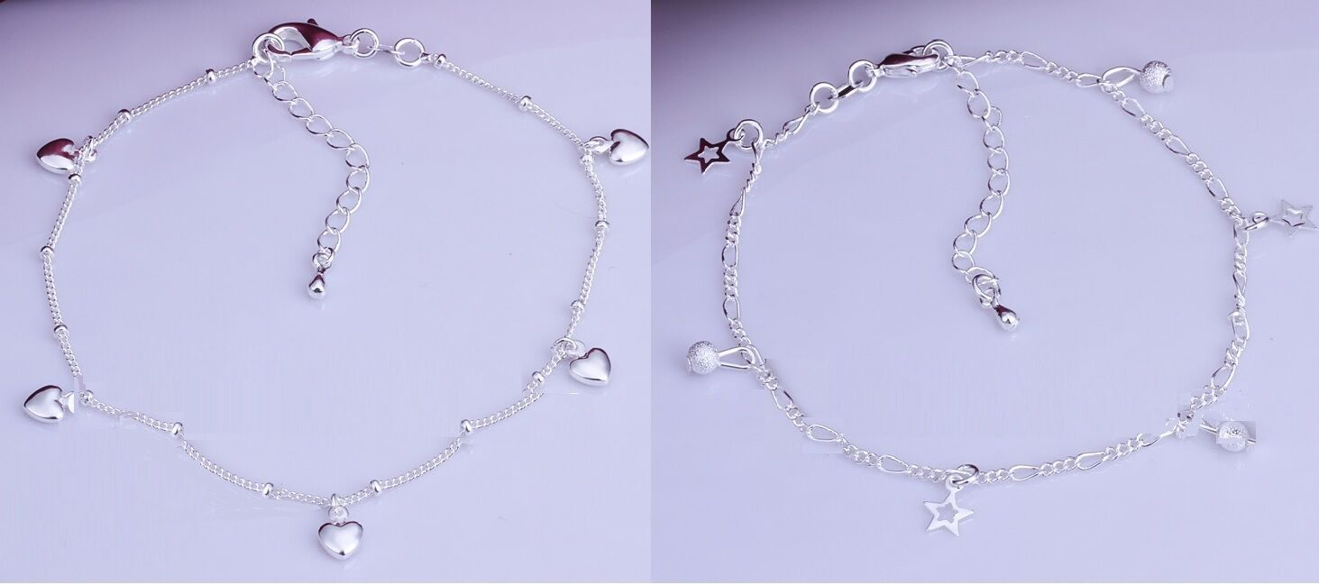 925 Sterling HEART Silver Plated Star KPAN3 or 5 HEART Sterling Charm Anklet KPAN4 e2942f