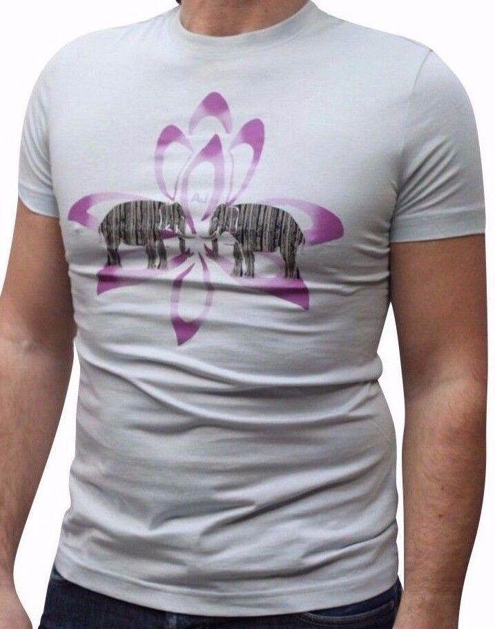 Armani Jeans Mens Light bluee Purple H S Tshirt - Sz XXL     BNWT