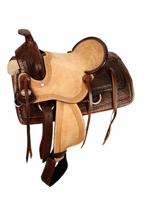 13  Double T hard seat roper style saddle with basketweave tooling