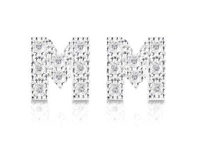 orecchini lettera iniziale H argento 925 con pavè zirconi chiusura perno mm 6