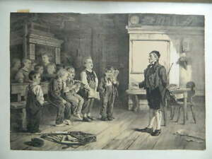 Die Klavierstunde___Figurengruppe__ ! Gesang, Lithografie Von C.Barry , Gemalt
