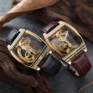 Herren-Tourbillion-Qualitaet-Luxus-Bling-Skelett-Classic-Mechanische-Armbanduhr