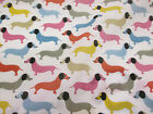 Cute White & Multicoloured Sausage Dogs, Dog Printed Polycotton Fabric