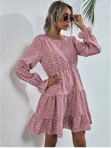 SHEIN Long Sleeves Dainty Floral Print Dress