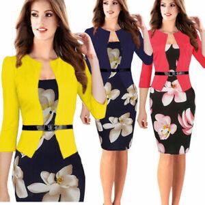 Elegant-Women-Floral-Business-Office-Work-Dress-Formal-Belt-Sheath-Pencil-Dress