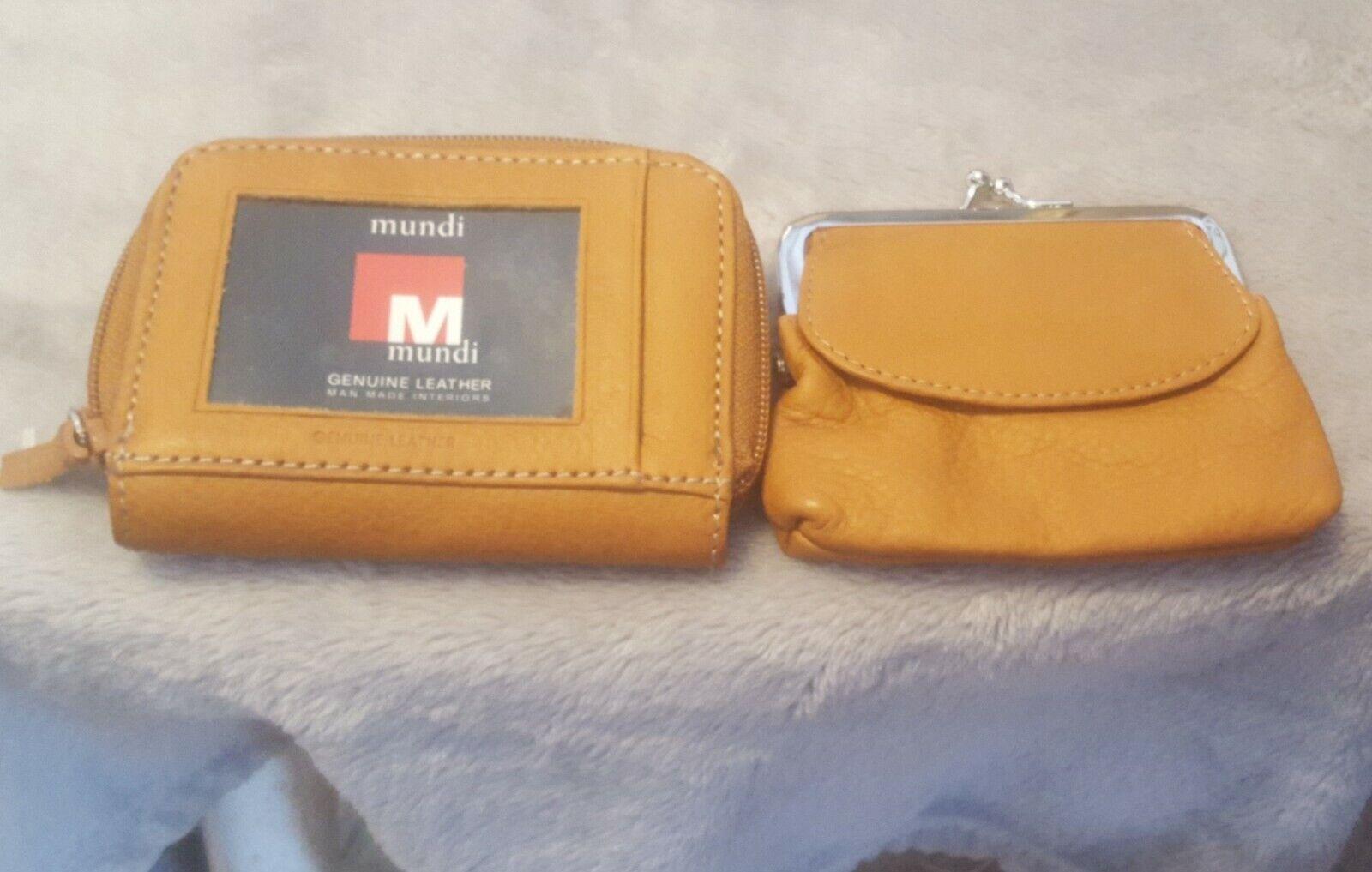 "New Mundi Brown Leather Change Purse Coin Wallet Zipper Closure 4.5"" x 3.5"""