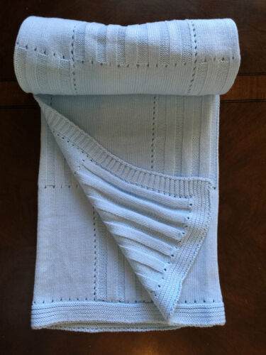 NEW Rochdale Boutique 100/% Cotton Knitted Baby Blanket //Throw Blue Vintage Style