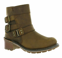 Cat Caterpillar Carolina Aspen Brown Leather Slip On Womens Ankle Boots Uk 3
