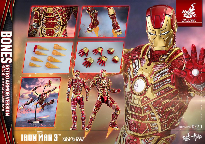 Hot Toys Iron Man 3 Movie Mark XLI 41 Bones Retro Exclusive 1/6 Scale Armor