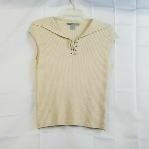 499-South-Womens-Ribbed-Beige-Silk-Blend-Top-Laced-V-Neck-Sleeveless-Size-Large