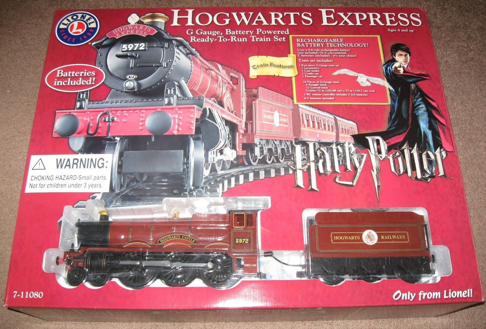Lionel new 7-11080 Harry Harry Harry Potter Hogwarts Express G-Gauge Battery-operated train f2e360