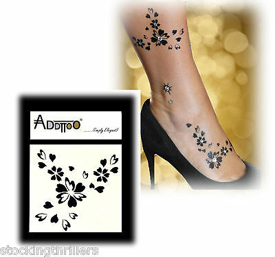 ADDTTOO Swarovski Crystal Temporary Body Art Black Flower Leg Ankle Tattoo