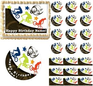 EXTREME BMX Bicycle Dirt Bike Edible Cake Topper Image Frosting