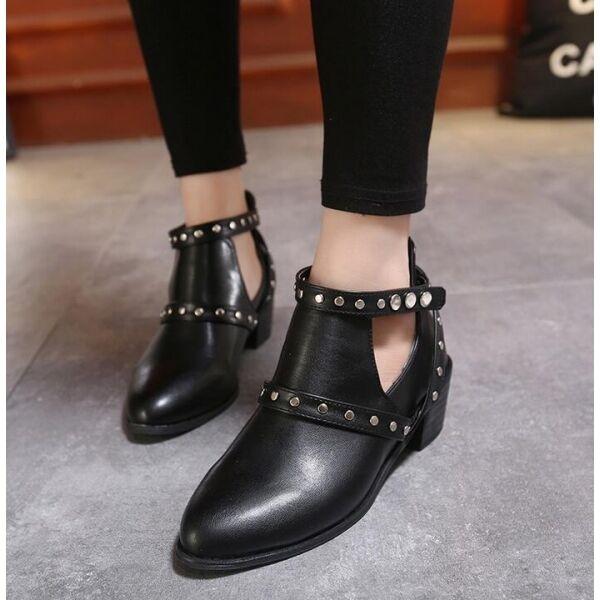 Botines tachuelas botas de mujer verano perforado talón 5 tachuelas Botines negro como piel CW150 920fe3