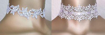 Halsband Kropfband Choker Hochzeit Dirndl weiß feine Stick-Spitze Neu 1