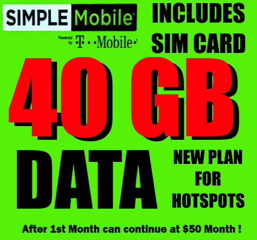 simple mobile sim card with 🔥 new 40 gb  🔥 monthly data