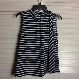 a31db4a6dd GAP Blue / White Striped Blouse Women's Size M Sleeveless Tie on ...