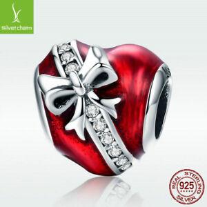Sterling Silver Red Enamel Heart Motif Bracelet /& Earrings Set