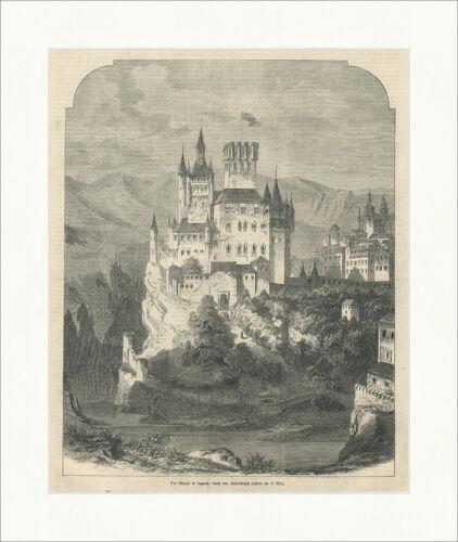 Der Alcazar in Segovia Feuersbrunst Kastilien Leon Spanien Holzstich E 26694