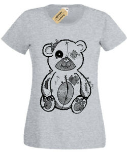 Tattered-Teddy-Womens-T-Shirt-goth-rock-punk-spooky-gothic-bear-gift-ladies-top