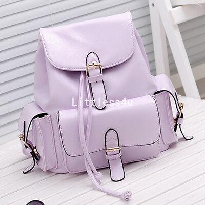 Womens Ladies Girls Faux Leather Vintage Rucksack Backpack College School Bag