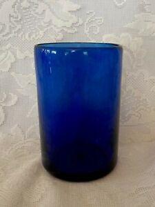 Collectible-Vintage-Cobalt-Blue-Hand-Blown-Art-Glass-Vase-Rough-Pontil
