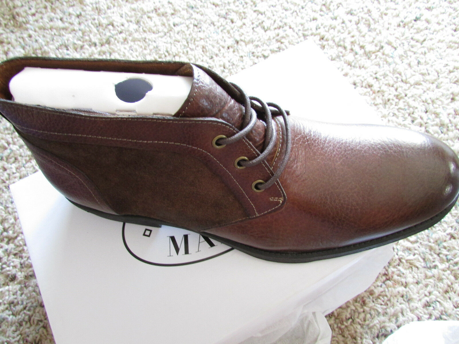 NEW STEVE MADDEN DERON CHUKKA ANKLE BOOTS Uomo 9.5 BROWN LEATHER LACE UP