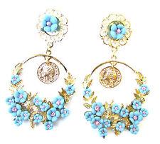 Gold Sky Blue Pink Baroque Earrings Daisy Flower Long Drop Coin Boho Stud 1063