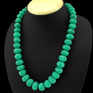 OUTSTANDING-669-00-CTS-NATURAL-GREEN-EMERALD-CARVED-BEADS-NECKLACE-STRAND-DG