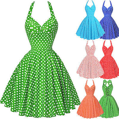 Women Vintage Polka Dot Retro Swing 40's 50's Housewife Halter Pinup Party Dress