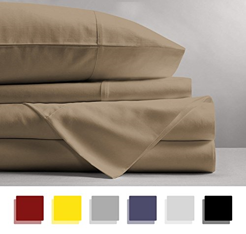 Mayfair Linen 600 Thread Count 100% Cotton Sheets - Taupe Long-Staple Cotton Bed