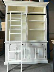 CLEARANCE !!! NEW FRENCH PROVINCIAL LIBRARY BOOKCASE DISPLAY CABINET & LADDER