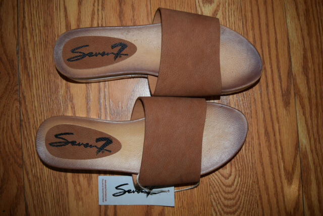 d3529c714d9f NEW Womens SEVEN Tan Slip On Pearl Slide Sandals Shoes Sz 10