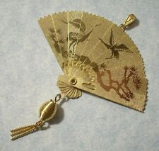 Large Folding Asian Fan Pendant 64mm Wide Made in USA