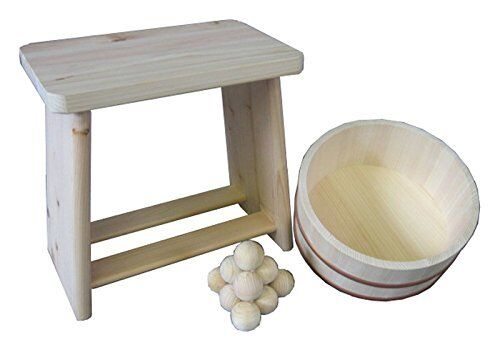 Japanese Oke wood Bath yuoke Chair Balls 3pcs SET B Onsen Tools Made in JAPAN