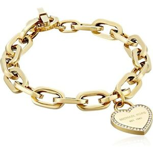 Image Is Loading New Michael Kors Gold Tone Crystal Trim Heart