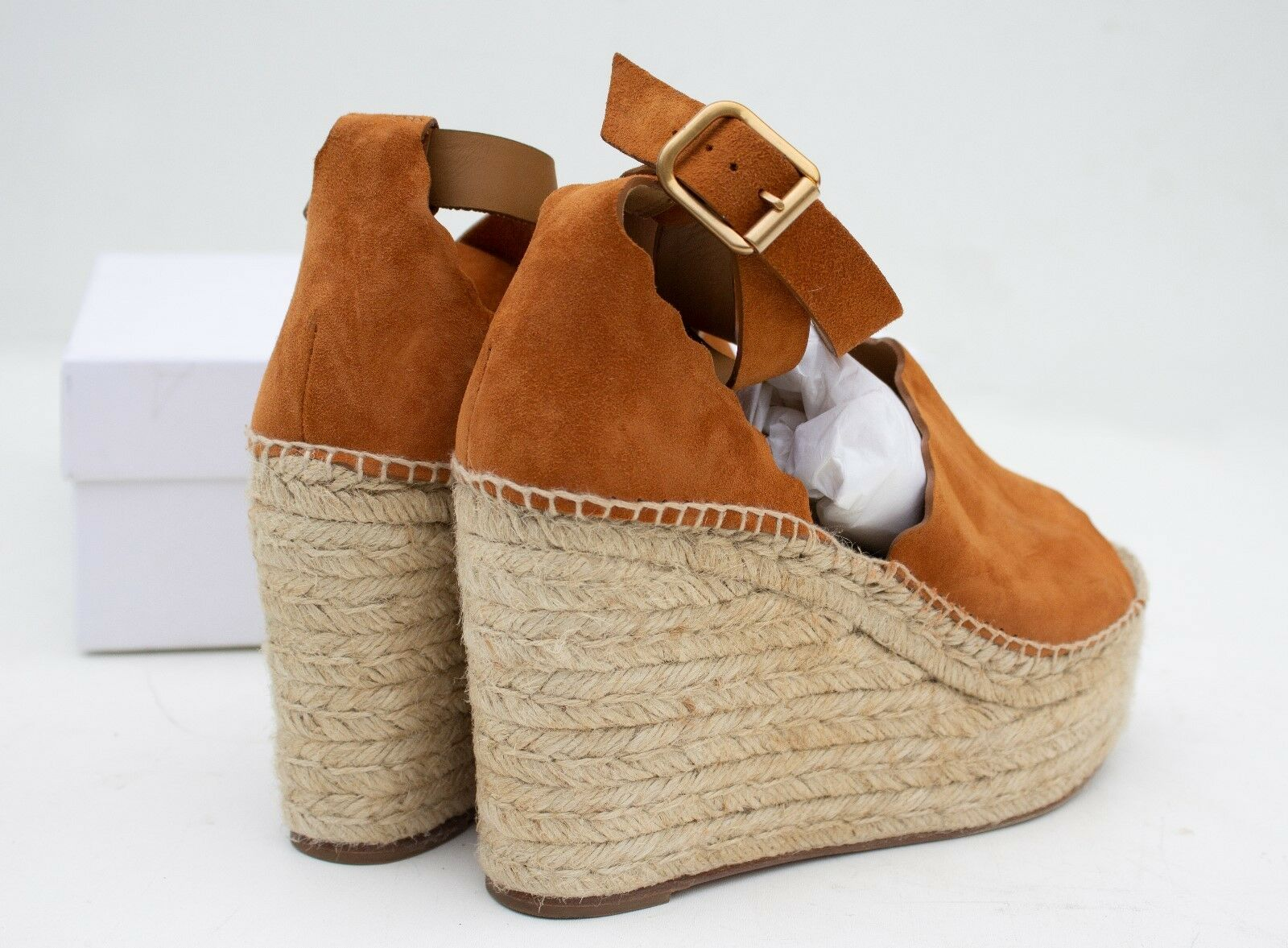 CHLOE CHLOE CHLOE Lauren Espadrille Wedge in Ochre Suede Sz 40 9.5 10 in box  660 4c7c32