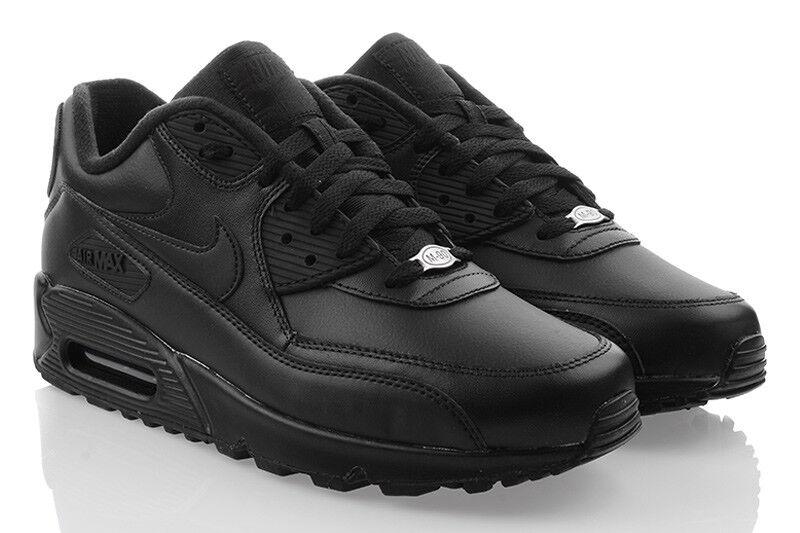 NIKE AIR MAX 90 LEATHER Sneaker Schwarz Sport Herrenschuhe Leder SALE 302519001