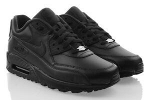 free shipping 9b7d7 85bc1 Das Bild wird geladen NIKE-AIR-MAX-90-LEATHER-Sneaker-Schwarz-Sport-