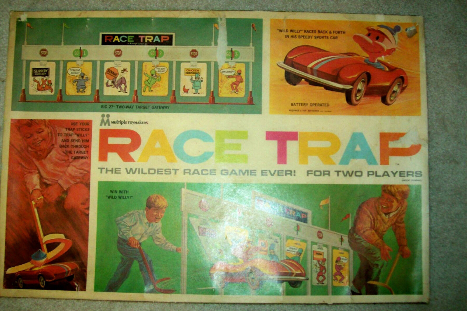 Vintage 1966 Race Trap Game - Complete --  Includes Working Car