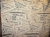 Nostalgic Newspaper Theme Rare Find Vintage Heavy Fabric Remnant 66 X 54 1/2