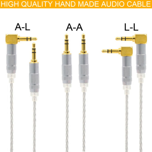 AUX CABLE Silver Plated OCC 3.5mm to 3.5mm Headphone Earphone Upgrade Wire DIY