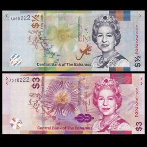 Set-2-PCS-Bahamas-1-2-3-Dollars-2019-P-NEW-UNC